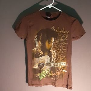 Bob Marley themed brown short sleeve tee